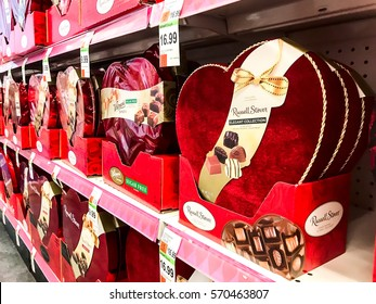 New York, February 2, 2017: Pharmacy shelves are filled with chocolates specially packaged in red heart shaped boxes during Valentine's Day shopping season.