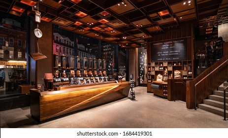NEW YORK - FEBRUARY, 2020: Starbucks Reserve Roastery interior view in Chelsea for Coffee lovers. Starbucks Reserve is a program by the international coffeehouse chain Starbucks.