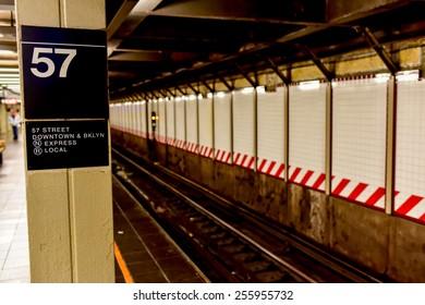 NEW YORK, NEW YORK - FEBRUARY 21, 2015: 57th Street MTA Subway Station in Midtown Manhattan.