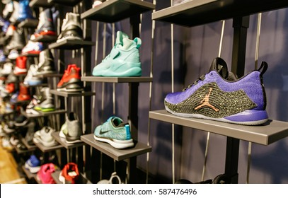 New York, February 21, 2017: Assorted Air Jordan basketball shoes for sale in the NBA store in Manhattan.