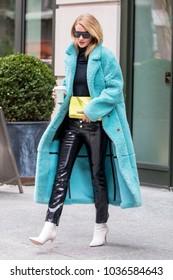 NEW YORK - FEBRUARY 22: Rosie Huntington-Whiteley is seen leaving her hotel on February 22, 2018 in New York City.