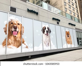 New York, February 24, 2018:  The front of a pet spa on Upper West Side in Manhattan.