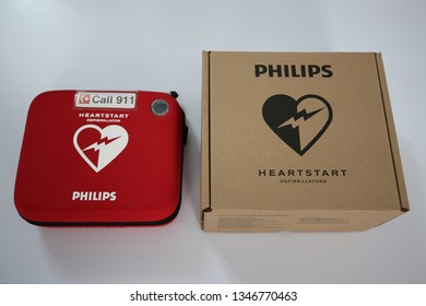 NEW YORK -FEBRUARY 24, 2019: Automated External Defibrillator on display in New York. It is a portable electronic device that automatically diagnoses the life-threatening cardiac arrhythmias