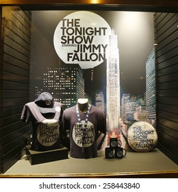 NEW YORK - FEBRUARY 26, 2015: Window display decorated with The Tonight Show with Jimmy Fallon logo in Rockefeller Center in Midtown Manhattan