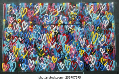NEW YORK - FEBRUARY 26, 2015: Mural art in Little Italy in Manhattan. A mural is any piece of artwork painted or applied directly on a wall, ceiling or other large permanent surface
