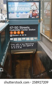 NEW YORK - FEBRUARY 26, 2015: 47-50 Streets Rockefeller Center Subway Station in NYC. Owned by the NYC Transit Authority, the subway system has 469 stations in operation
