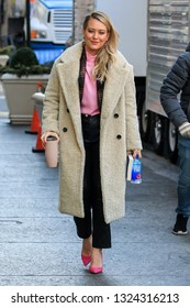 NEW YORK - FEBRUARY 26: Hilary Duff is seen filming 'Younger' on February 26, 2019 in New York City.