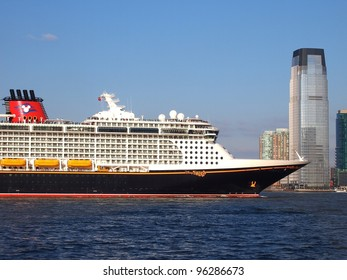 NEW YORK - FEBRUARY 28: Disney Fantasy, a new cruise ship, enters New York Harbor for the first time, February 28, 2012. The 130,000-ton vessel is the 4th Disney Cruise Line ship.