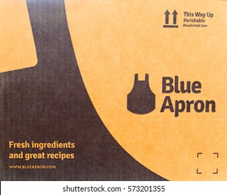 New York, February 3,, 2017: A side of a Blue Apron cardboard shipping box. Blue Apron is a service that ships fresh food along with recipes to individuals who enjoy cooking.