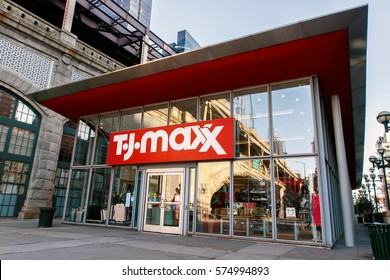 New York, February 6, 2017: The front of a TJ Maxx store located near Queensboro Bridge on First Avenue in Manhattan.