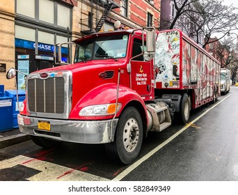 New York, February 8, 2017: A Budweiser beer delivery truck is parked on Columbus Avenue in Manhattan.