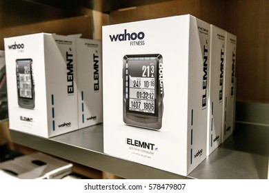 New York, February 9, 2017: ELEMNT GPS Bike Computer by Wahoo Fitness is offered for sale in an Apple store.