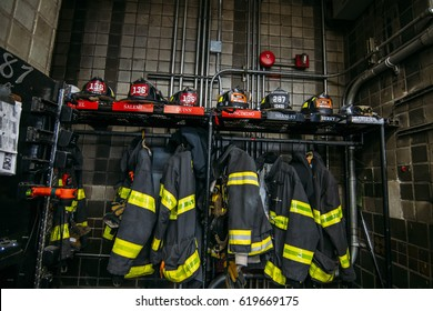New york firefighters work tool and clothing in the fire station
