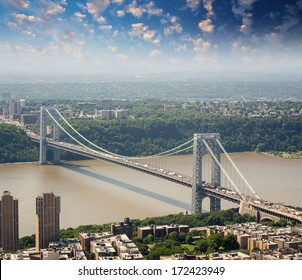 New York. George Washington Bridge and Hudson River, aerial view.