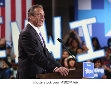 New York Governor Andrew Cuomo speaks during Democratic Presidential Candidate Hillary Clinton's victory rally at the Sheraton Hotel Times Square.