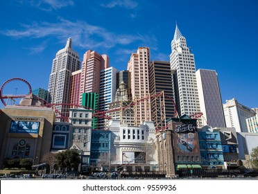 New York New York hotel and casino on the Las Vegas, Nevada strip in the winter