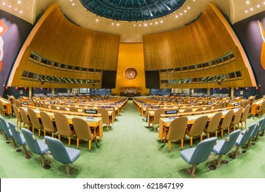 NEW YORK - JAN 18: General Assembly Hall at United Nations Headquarters on Jan 18, 2017 in New York, USA.