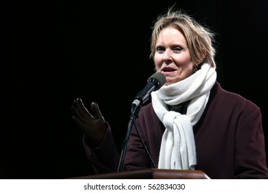 NEW YORK - JAN 19, 2017: Cynthia Nixon takes part in the We Stand United Rally on on January 19, 2017, in New York City.