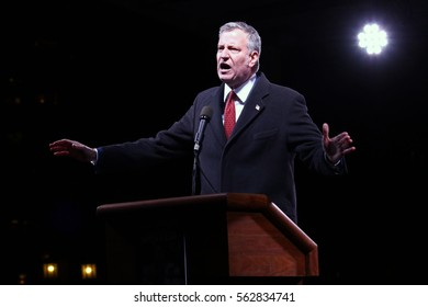 NEW YORK - JAN 19, 2017: NYC Mayor Bill de Blasio takes part in the We Stand United Rally on on January 19, 2017, in New York City.