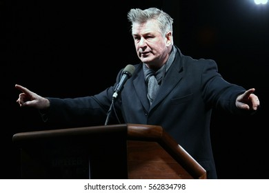 NEW YORK - JAN 19, 2017: Alec Baldwin takes part in the We Stand United Rally on on January 19, 2017, in New York City.