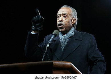NEW YORK - JAN 19, 2017: Al Sharpton takes part in the We Stand United Rally on on January 19, 2017, in New York City.