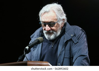 NEW YORK - JAN 19, 2017: Robert De Niro takes part in the We Stand United Rally on on January 19, 2017, in New York City.