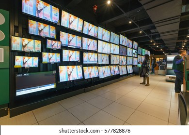 NEW YORK - JAN 23: LCD TV show case at B&H Photo Video store on 34th Street in Manhattan on Jan 23, 2017 in New York, USA.
