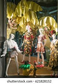 NEW YORK - JAN 25 : Fashion showcase at Dolce&Gabbana store on Fifth Avenue shop  on Nov 25, 2017 in Manhattan, New York, USA.