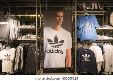 NEW YORK - JAN 25 : T shirt display at Adidas store on Fifth Avenue in Manhattan on Nov 25, 2017 in New York, USA.