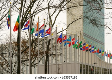 NEW YORK - JAN 27 : Member states flags display at United Nations Headquarters Building on Jan 27, 2017 in Manhattan, New York, USA.
