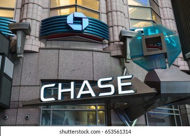 NEW YORK - JAN 28: Chase Bank at Times Square on Jan 28, 2017 in New York, USA.