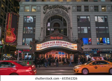 NEW YORK - JAN 28: Hard Rock Cafe and Paramount Theater at Times Square on Jan 28, 2017 in New York, USA.