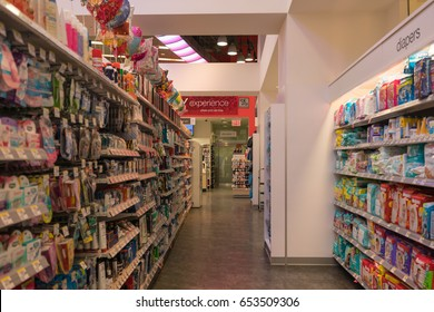 NEW YORK - JAN 28  : Interior of Walgreens Pharmacy in Times Square souvenir shop on Jan 28, 2017 in Manhattan, New York, USA.