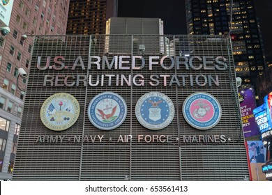 NEW YORK - JAN 28: U.S. Armed Forces Recruiting Station at Times Square on Jan 28, 2017 in New York, USA.