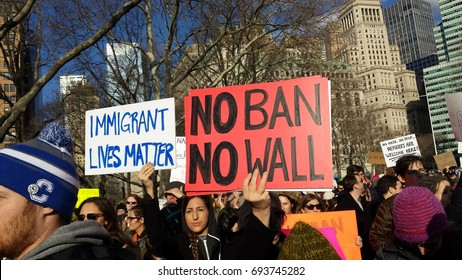 New York - Jan 29, 2017: immigration rally in Battery Park City