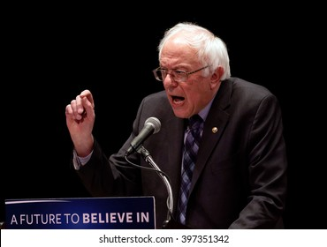 New York, Jan 5, 2016. Democratic Presidential hopeful Senator Bernie Sanders of Vermont speaks during a campaign stop at the Town Hall Theater in New York City.  photo by Trevor Collens