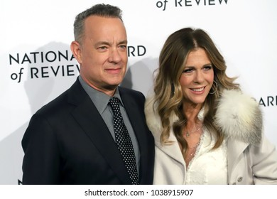 NEW YORK - JAN 9, 2018: Tom Hanks and Rita Wilson attend the National Board of Review Awards at Cipriani on January 9, 2018, in New York