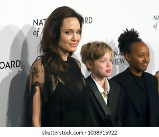 NEW YORK - JAN 9, 2018: Angelina Jolie, Shiloh Jolie Pitt and Zahara Jolie Pitt attends the National Board of Review Awards at Cipriani on January 9, 2018, in New York