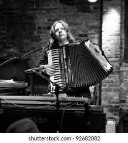NEW YORK - JANUARY 06: Henry Hey accordion plays as part of NYC Winter Jazz Festival at The Bitter End on January 06, 2012 in New York City