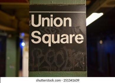 NEW YORK, NEW YORK - JANUARY 10, 2015: Union Square Subway Station in Manhattan.