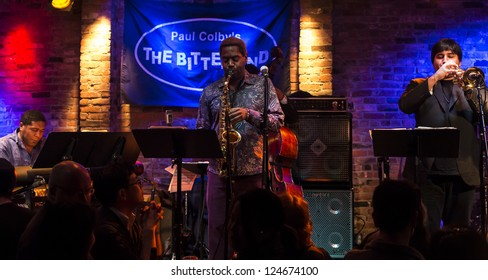 NEW YORK - JANUARY 11: Yosvany Terry quintet performs on stage as part of NYC Winter Jazz Festival at The Bitter End on January 11, 2013 in New York City