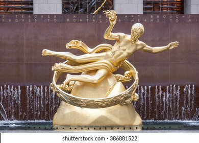 NEW YORK - JANUARY 11,2009: Statue of Prometheus above the ice rink at the Rockefeller Center on JANUARY 11,2009 in New York. Rockefeller Center was declared a National Historic Landmark in 1987.
