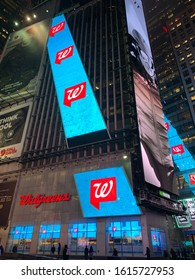 NEW YORK - JANUARY 14, 2020: WALGREENS brand logo sign at TIMES SQUARE location