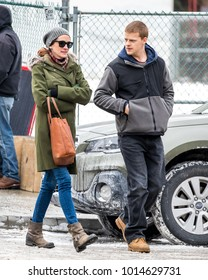 NEW YORK - JANUARY 15: Julia Roberts  is seen on set of 'Ben is Back' with her co-star Lucas Hedges on January 15, 2018 in New York City.