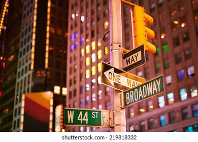 New York, January 19, 2014 - Broadway sign in New York City at night
