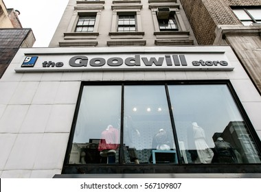 New York, January 21, 2017: Front window of a Goodwill store west 72 street in Manhattan.