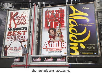 NEW YORK  - JANUARY 26: Broadway signs in Manhattan on January 26, 2014. With over 40 prominent theater houses, Broadway theater is considered one of the world's highest levels of commercial theater