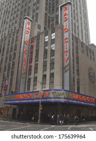 NEW YORK - JANUARY 26: New York City landmark, Radio City Music Hall in Rockefeller Center on January 26, 2014. The Radio City Christmas Spectacular is a New York Christmas tradition since 1933