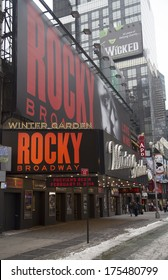 NEW YORK - JANUARY 26:The exterior of the Winter Garden theater, featuring the play Rocky The Musical on Broadway in New York City on January 26, 2014. Rocky  on Broadway preview begins on February 11