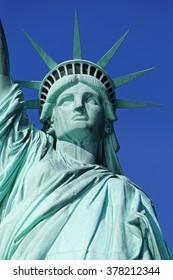 New York - January 30, 2016: Close up of Statue of Liberty on January 30, 2016. Statue of Liberty is one of the most recognizable landmarks of New York City.